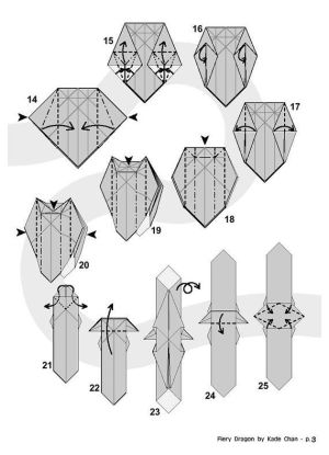 FIERY DRAGON Diagram (4 of 8) Paper Origami   Paper Origami and Folding Diagrams   Pinterest