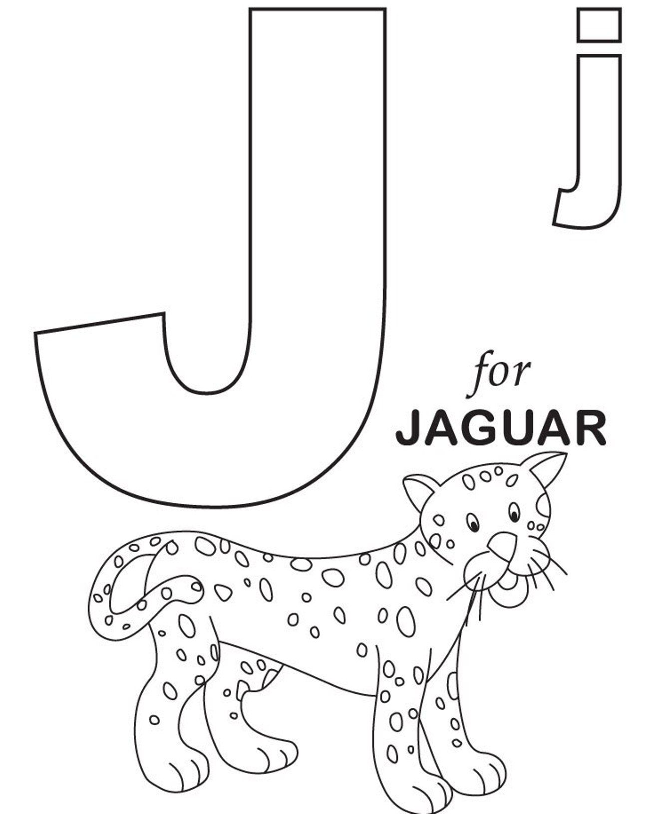 Jaguar Alphabet Coloring Page