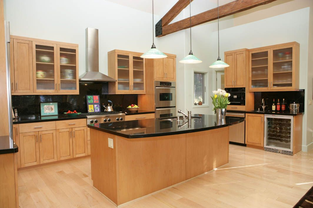 Modern Kitchen with Dark Granite and Light Maple Cabinets ... on Maple Cabinets With Black Countertops  id=72606
