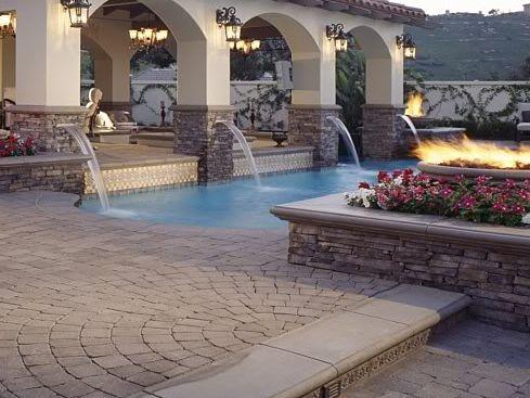 Stone And Stucco Patio Cover Backyard Inspiration