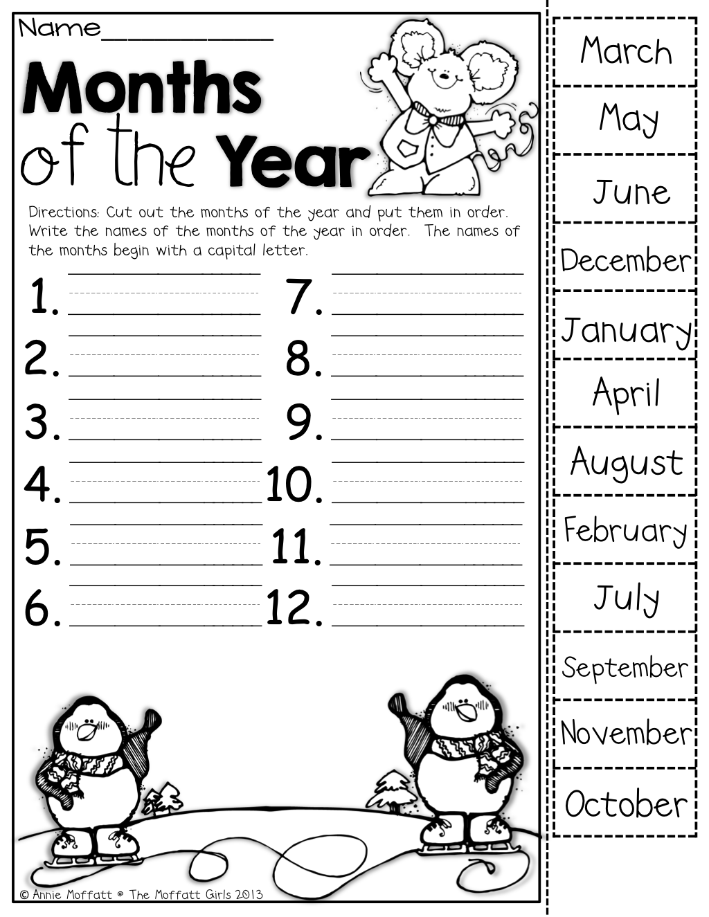 Months Of The Year Cut Out The Months Put Them In Order