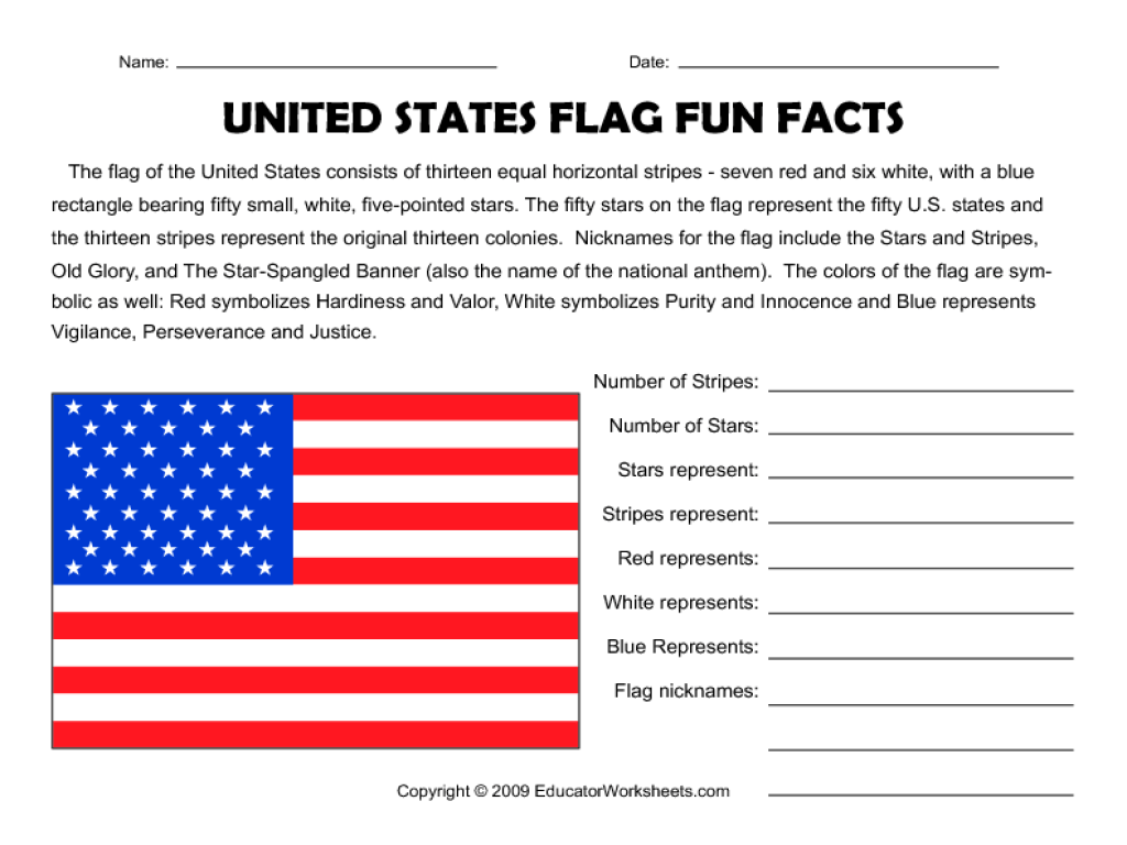 United States Flag Fun Facts Worksheet