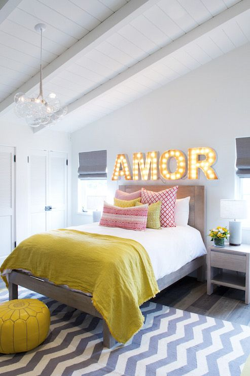Yellow And Red Bedroom For Ager Gray Chambray Rug Marquee Lighting Above Bed