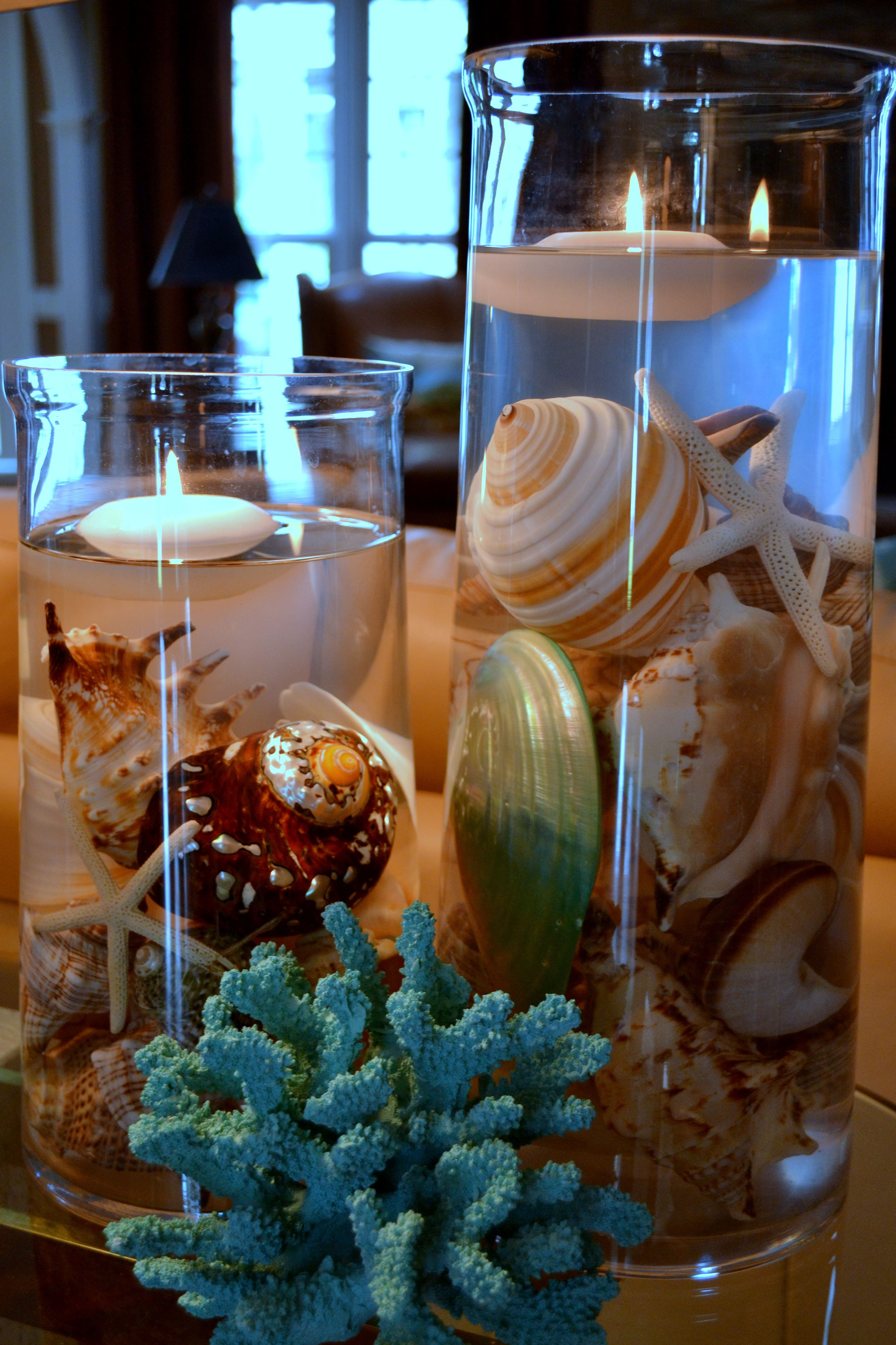 Center Piece With Beautiful Shells Coral And Floating