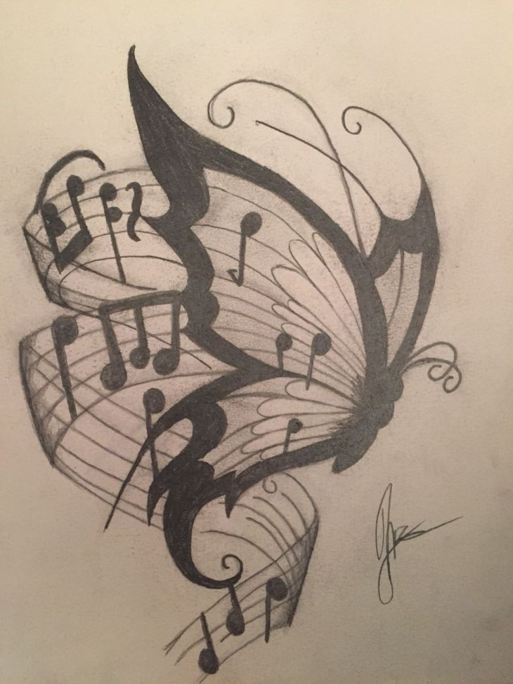 Butterfly drawing in pencil and charcoal Butterfly Drawing