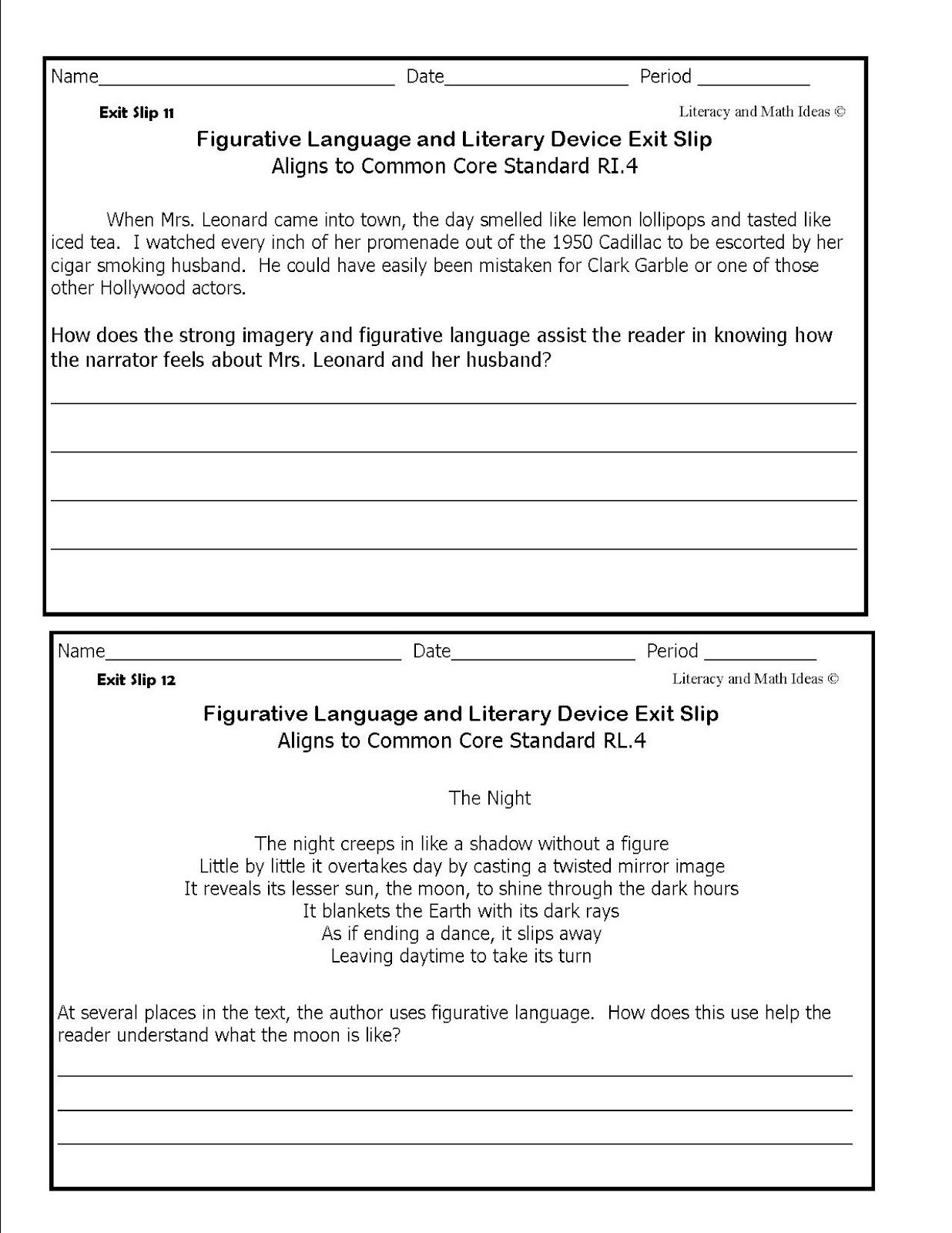 Literacy Amp Math Ideas Figurative Language Exit Slips