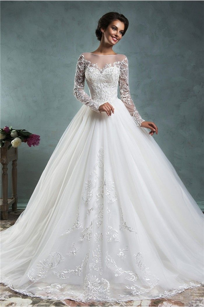 wedding dresses lace long sleeves   Wedding Fairy Ball Gown Illusion Neckline Long Sleeve Tulle Lace Wedding