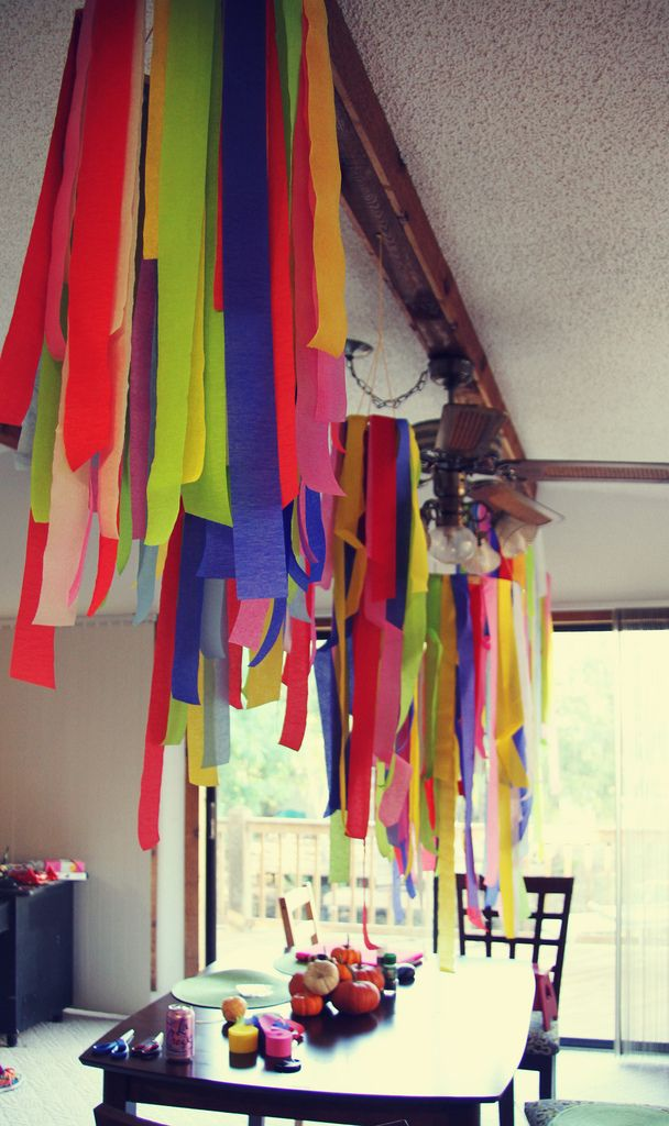 Paper Streamer Chandeliers Diy