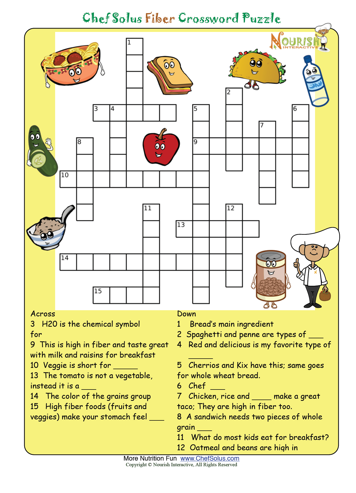 Fiber Puzzle Please Make Sure To Print The Answer Key As Well