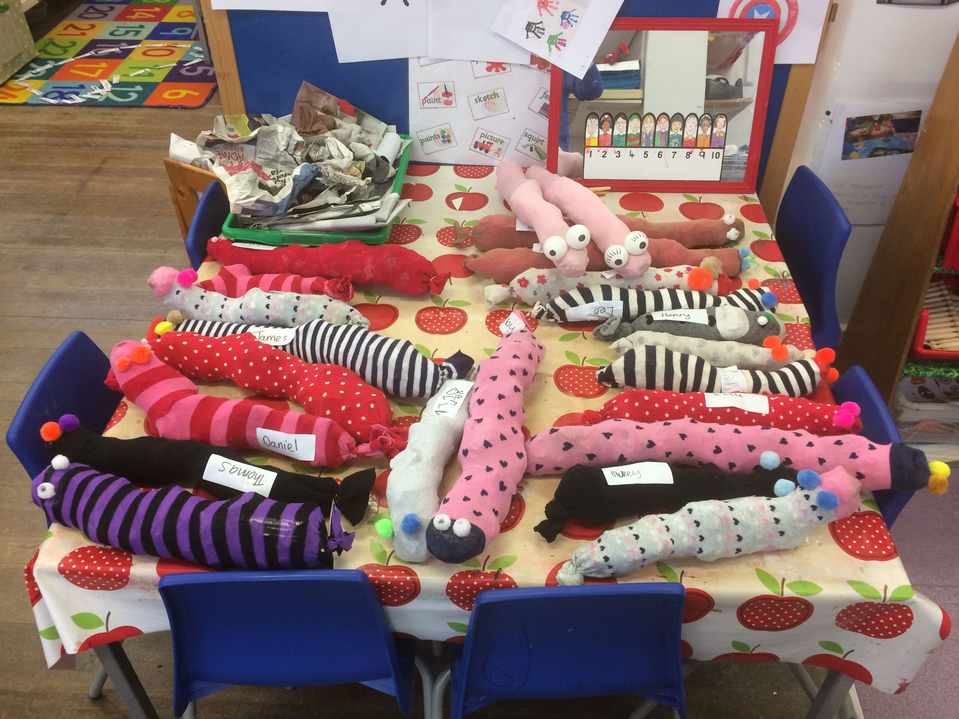 Stuffed Tights To Make Superworm And Wonder Worms
