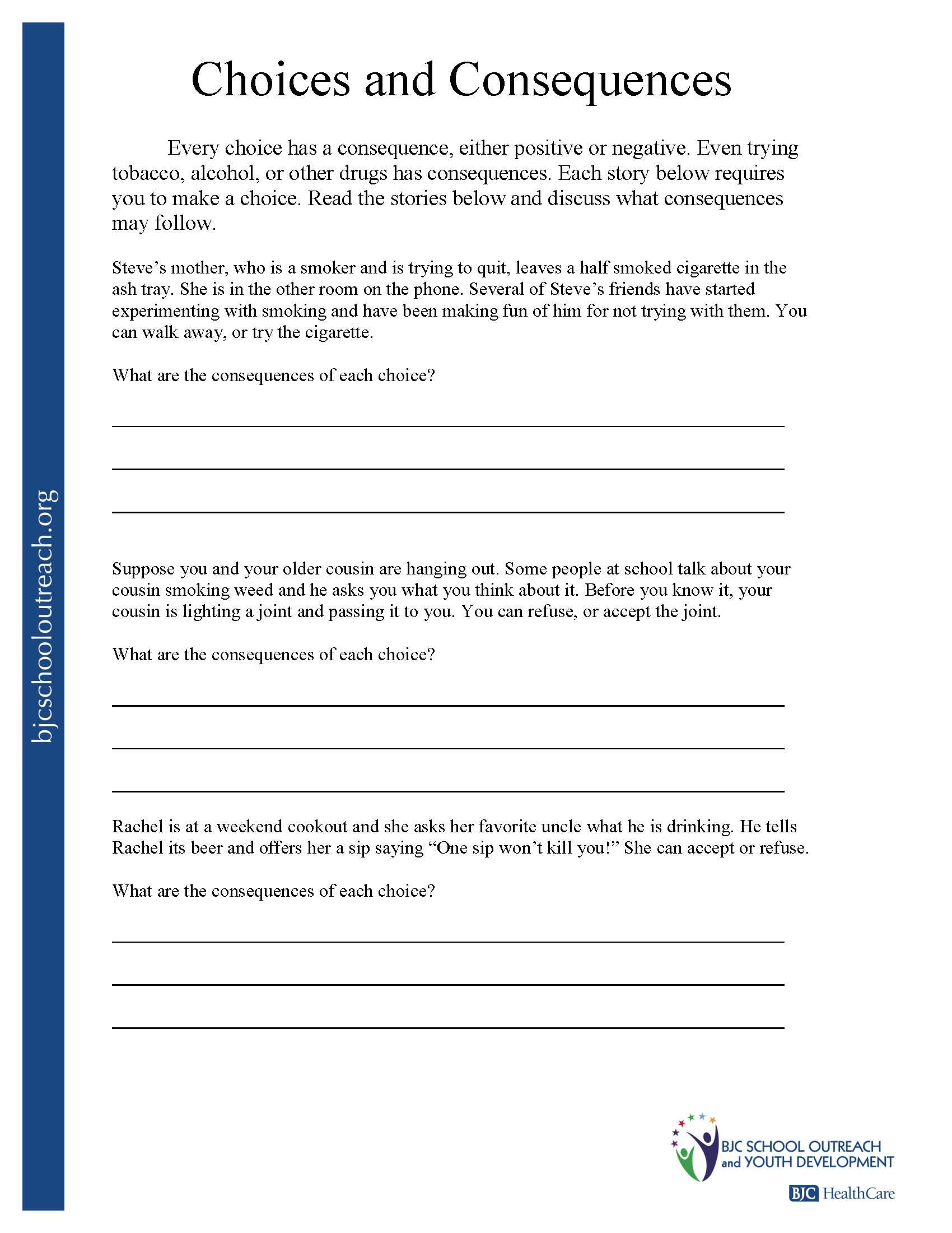 Making The Right Choices Worksheets