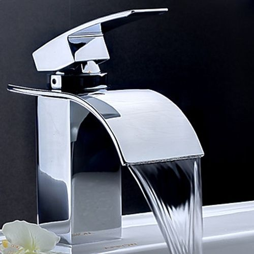 contemporary waterfall bathroom faucet -chrome finish. call griggs