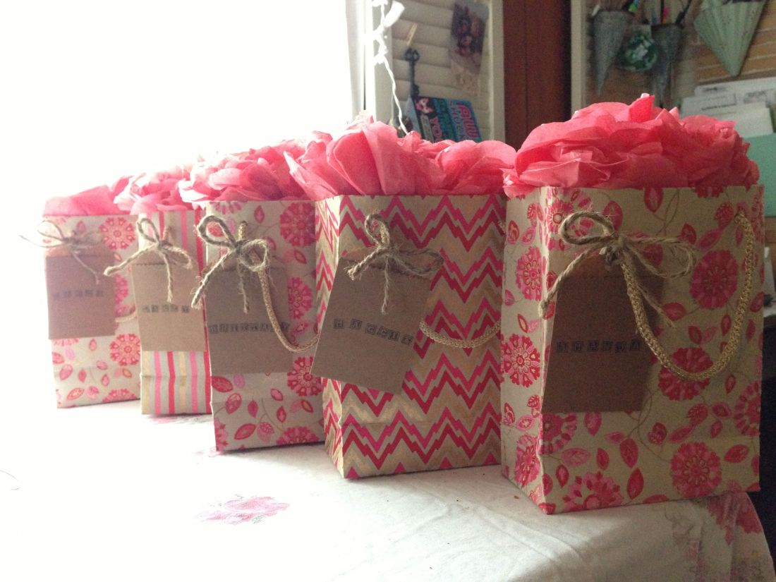 Bridesmaid gift bags tissue paper pompom tags with
