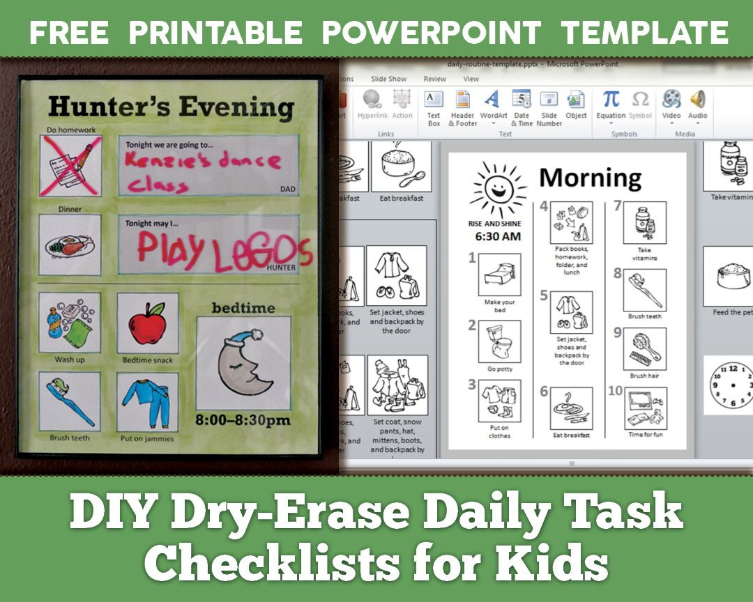 Diy Dry Erase Daily Routine Checklists For Kids With Free