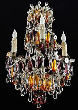 French Antique Chandelier With Rare Colored Crystals