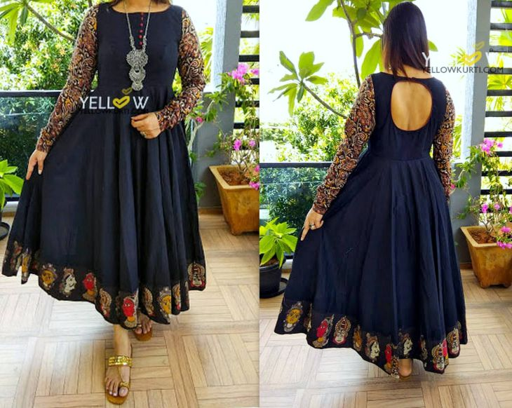 Black kalamkari evening gown Customisable in any colour and pattern