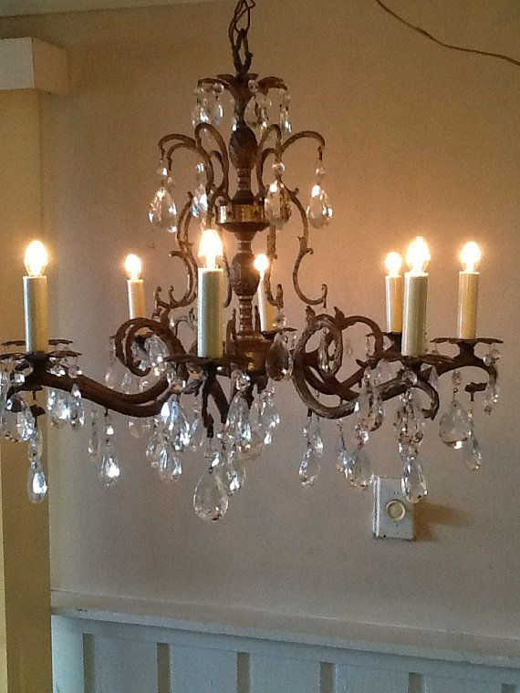 Vintage Large Crystal Chandelier French Style Double Pinele Design