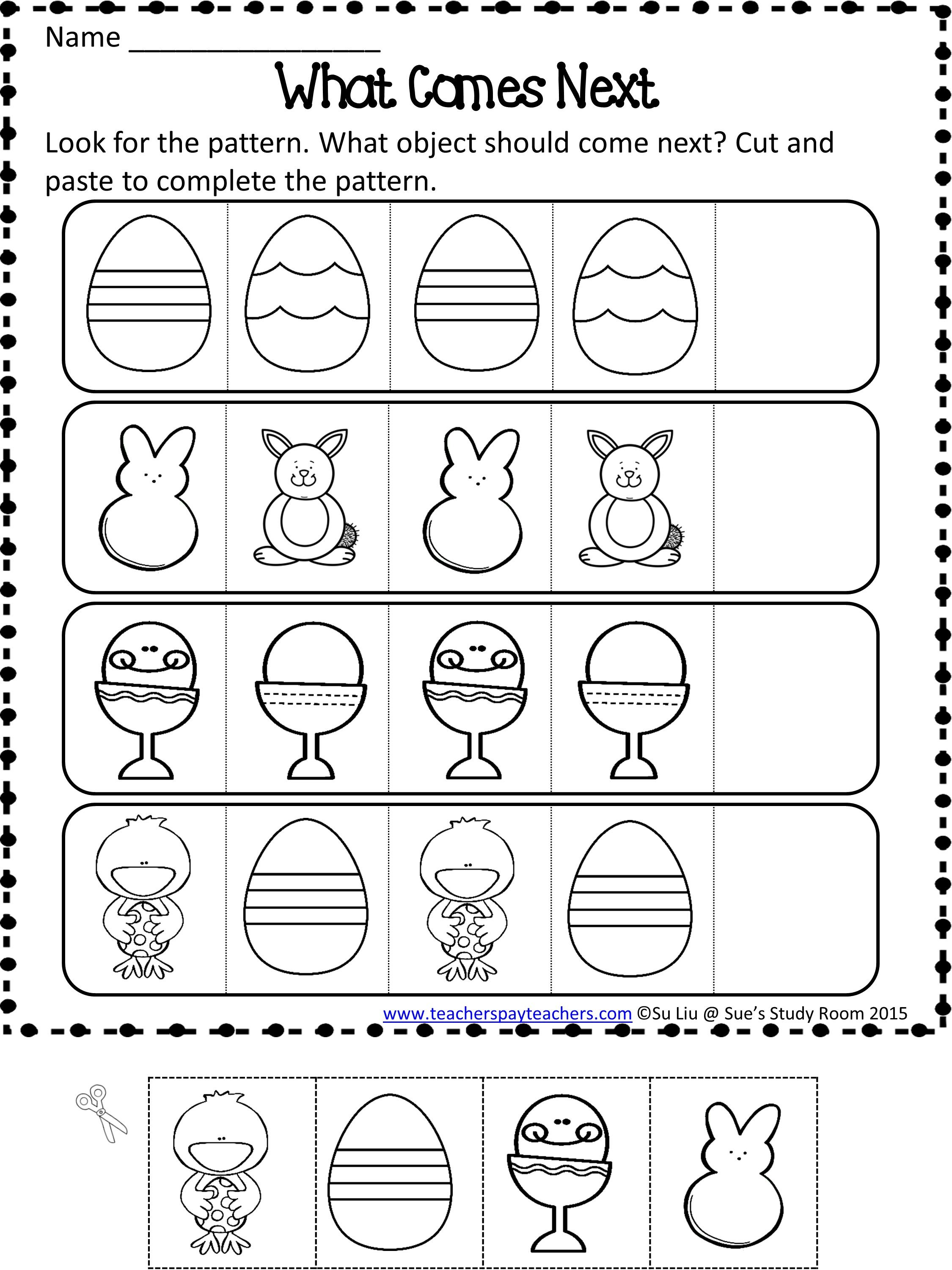 Easter Patterns Worksheets