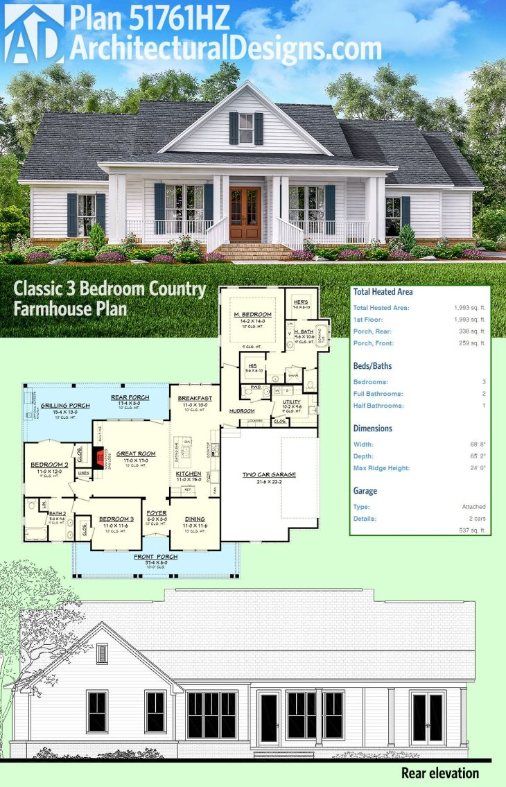 Plan HZ Classic Bed Country Farmhouse Plan Architectural