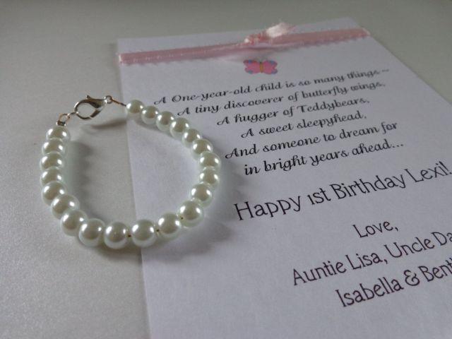 Baby girl 1st birthday gift pearl bracelet with birthday