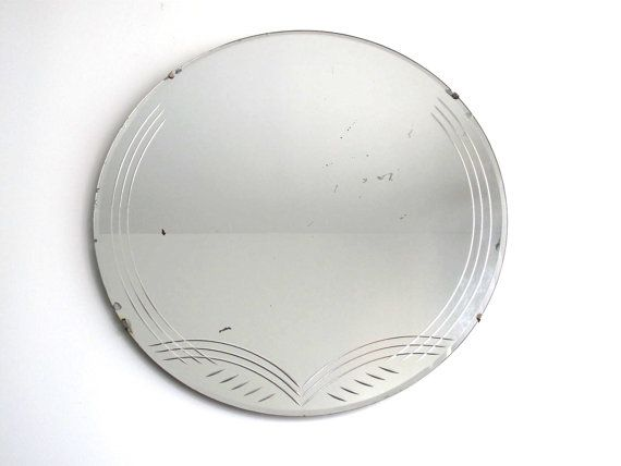 Art Deco Round Mirror With Beveled