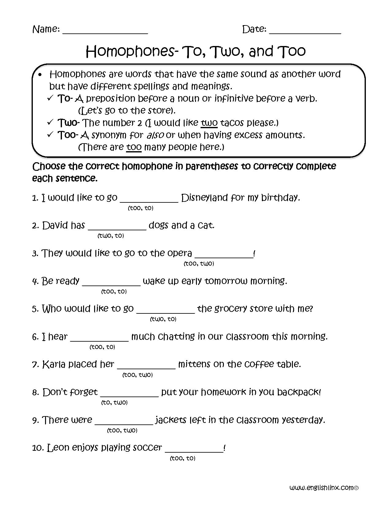 Choosing To Two Too Homophones Worksheets