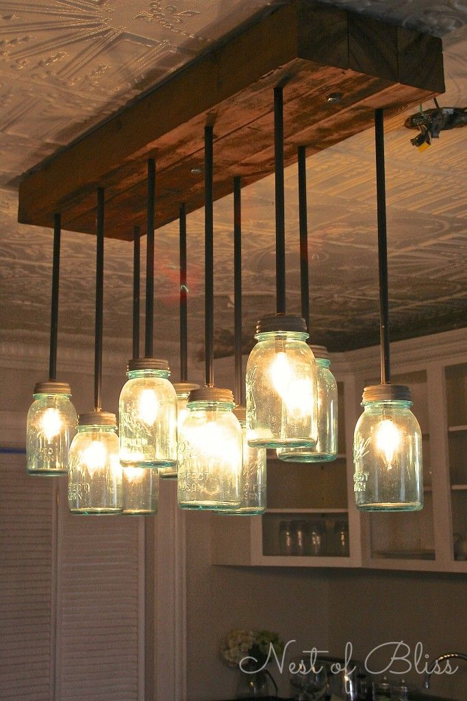 Mason Jar Chandelier On Pinterest Mason Jar Lighting Diy Chandelier And Pipe Lamp
