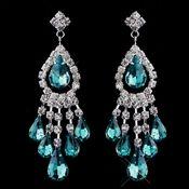 Silver Teal Chandelier Earrings 24792