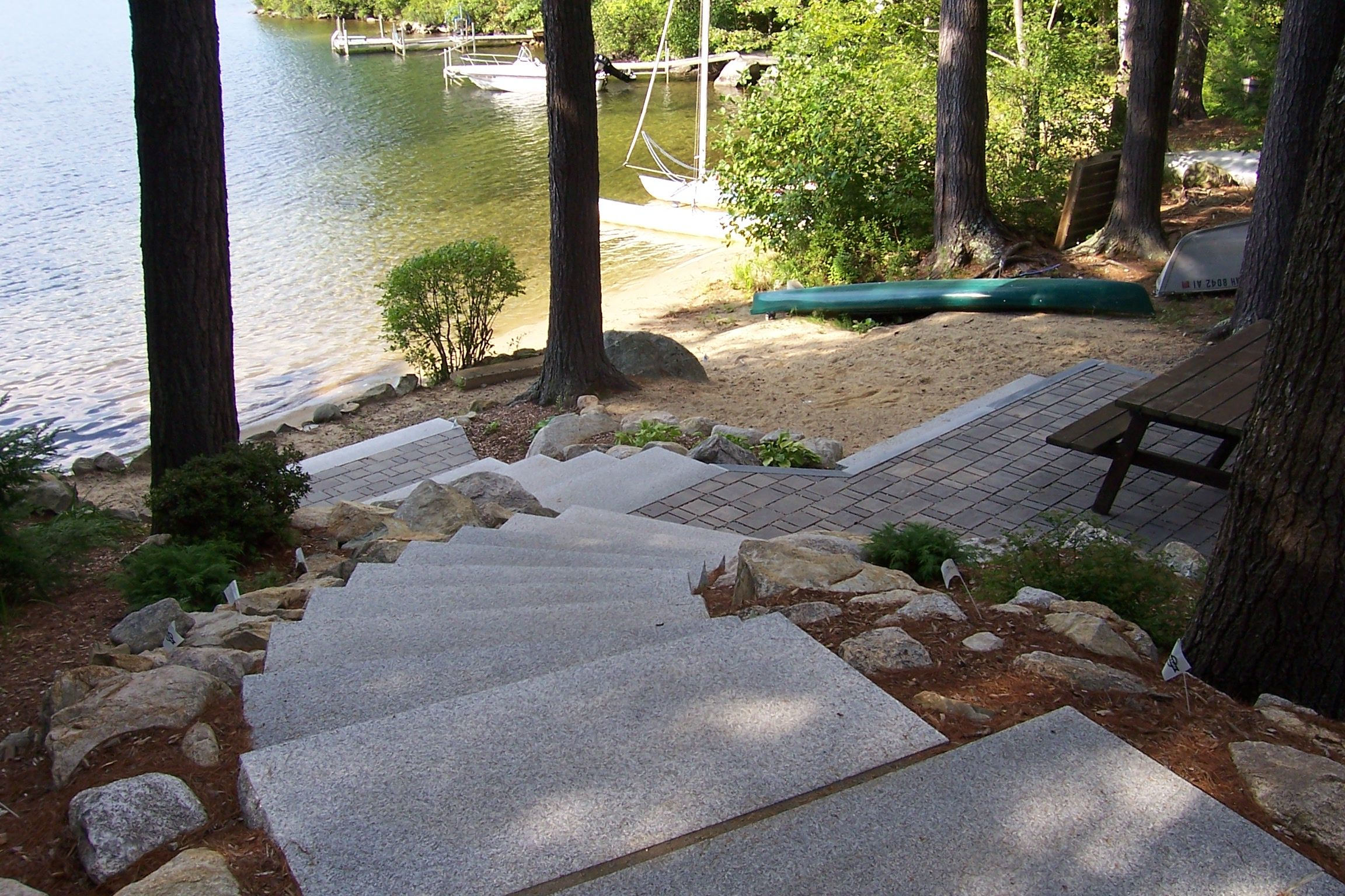 Paver patio with granite steps, entrance to lake, idea ... on Lakefront Patio Ideas id=69553