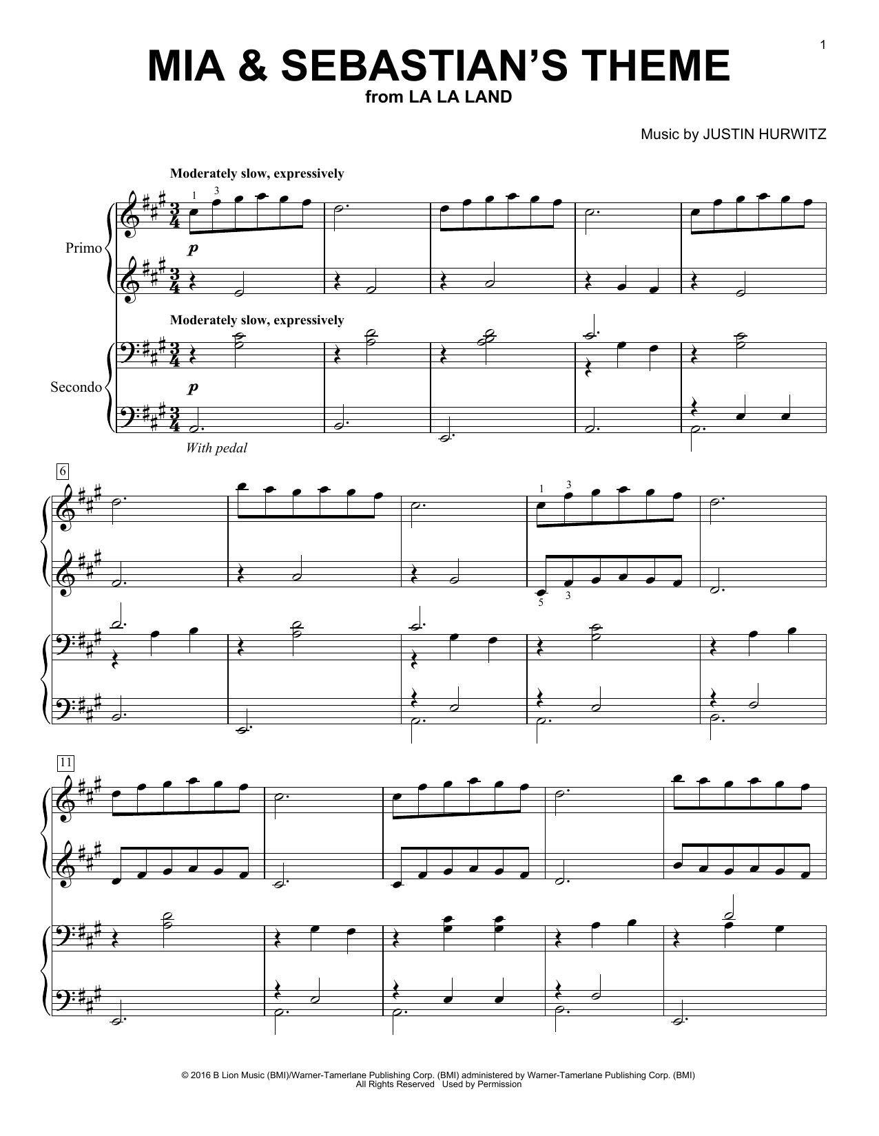 Download Piano Duet Sheet Music To Mia Amp Sebastian S Theme