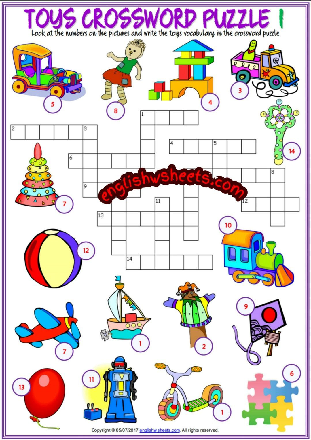 Toys Esl Printable Crossword Puzzle Worksheets For Kids