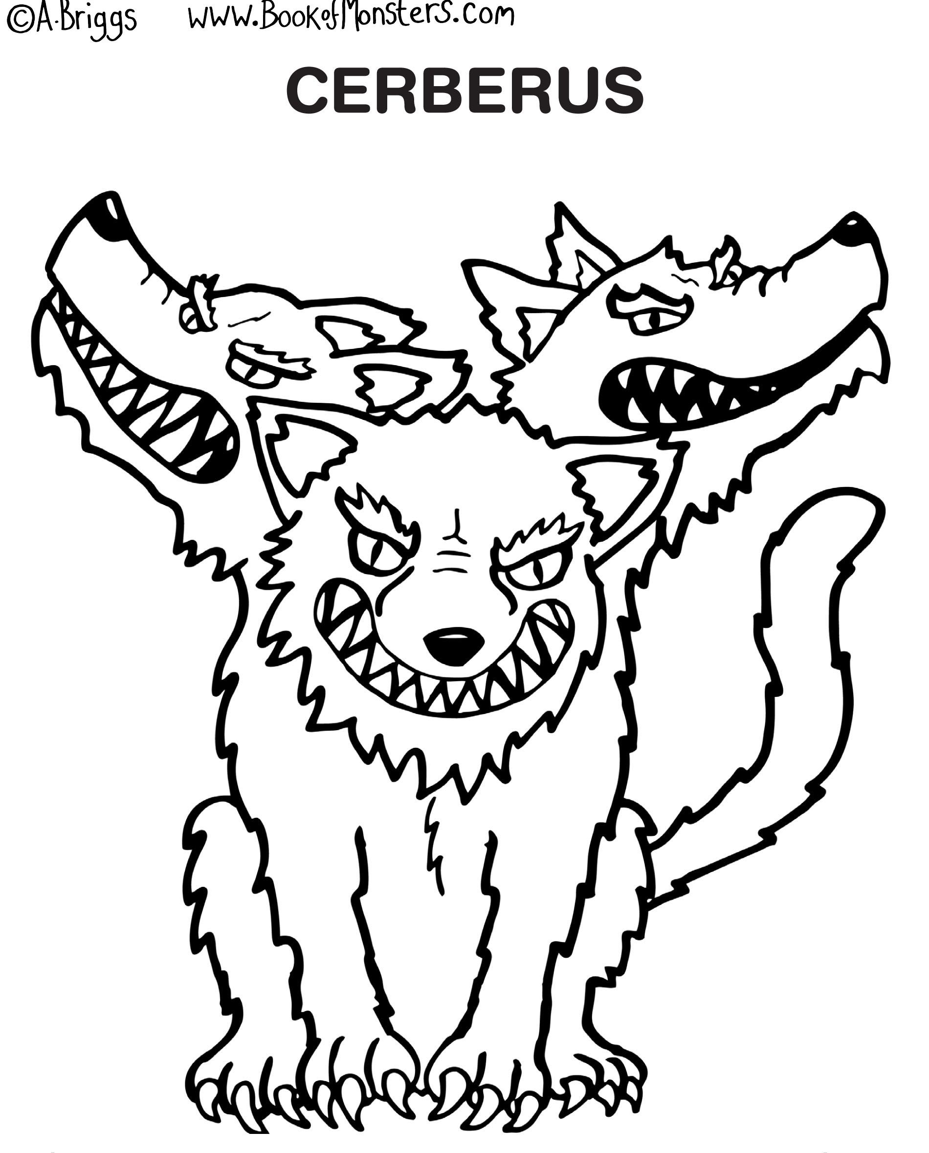 Book Of Monsters Coloring Page For Kids Cerberus