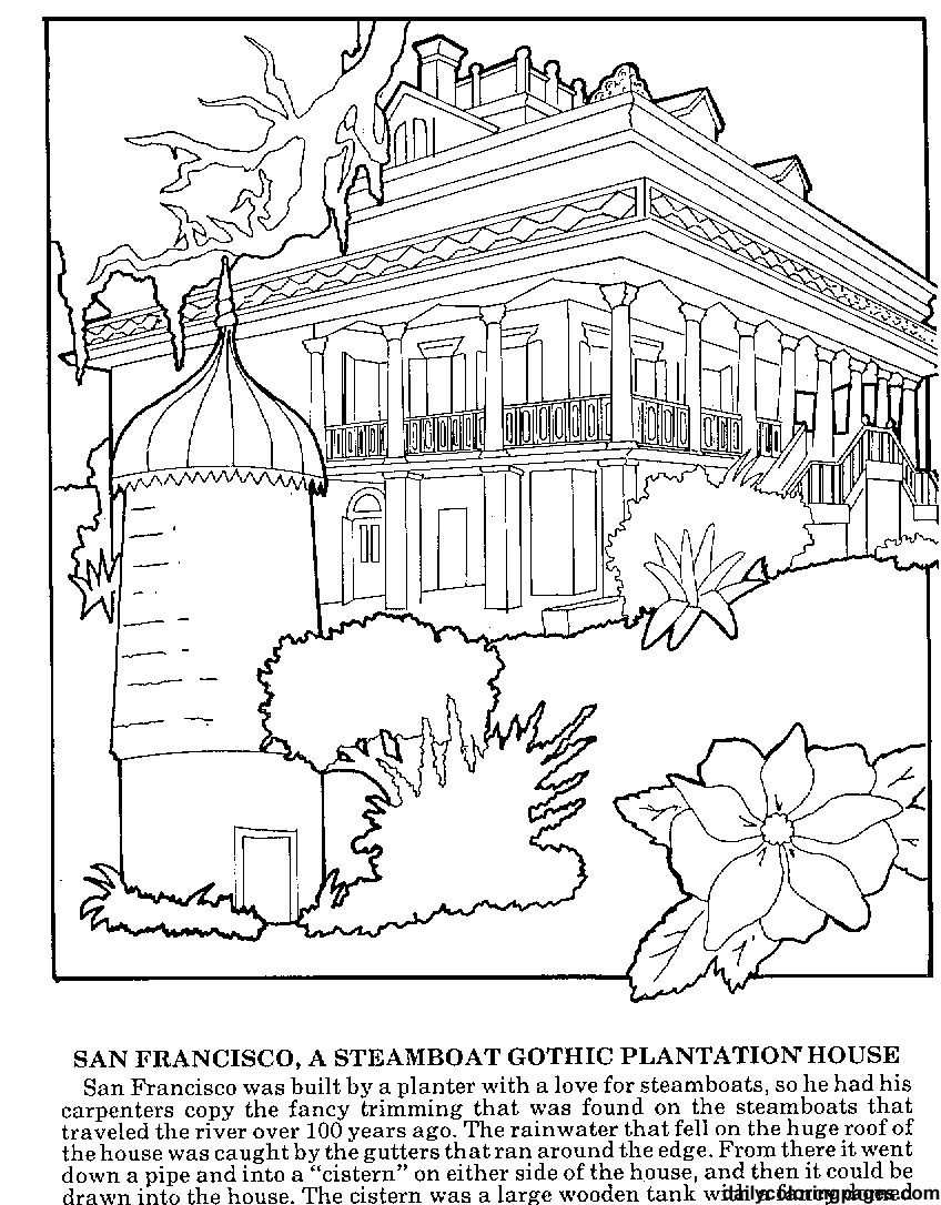 Difficult Coloring Pages For Adults Louisiana Plantations
