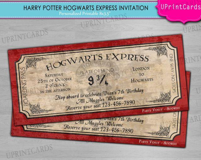 Diy printable hogwarts express harry potter ticket