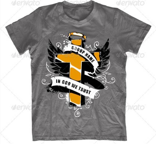 Grunge T Shirt Design With Cross T Shirt Design