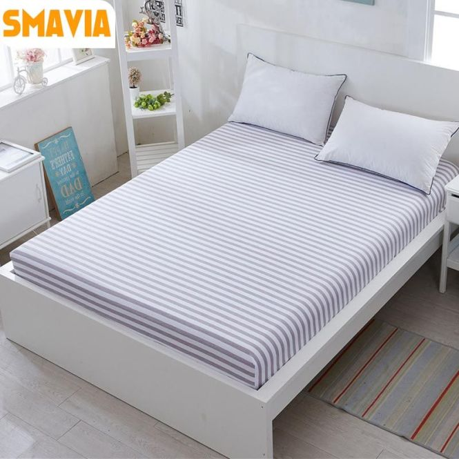 Smavia Hot Stripe Bed Ed Sheets 100 Cotton Fabric With Elastic Sheet