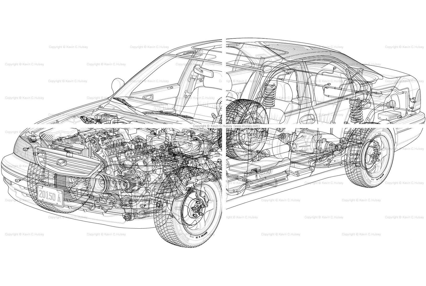 Car Cutaway Vector Line Drawing Pixels