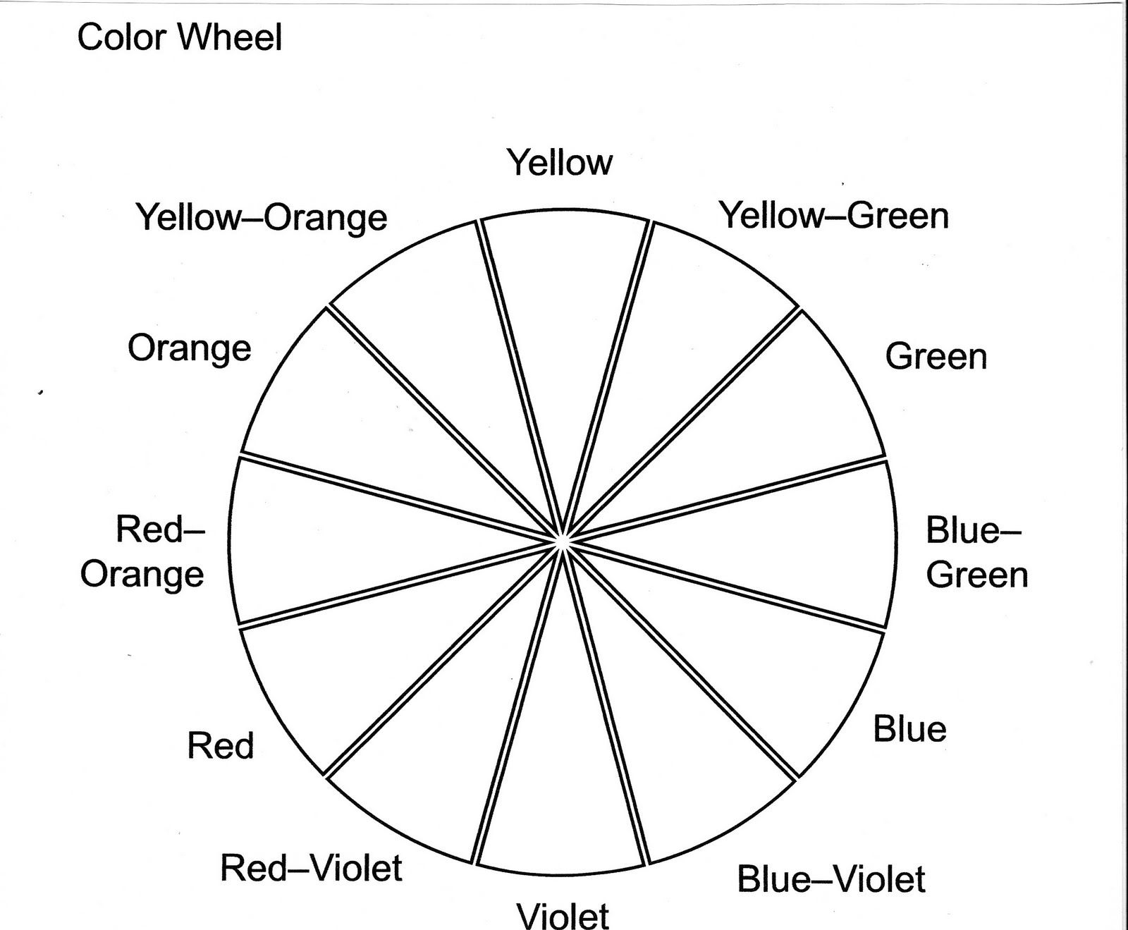 Color Wheel Worksheet Printable