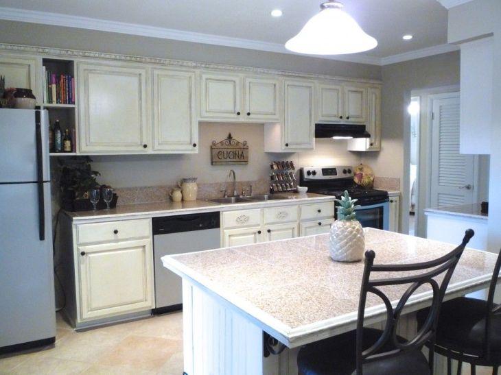 galkey kitchen Kitchen Cool White Distressed Galley Kitchen