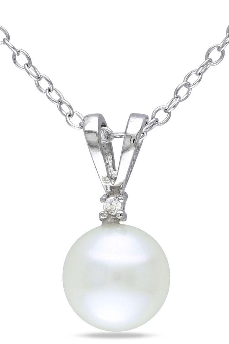 PRINCESS Sterling Silver Diamond u mm Button Pearl Necklace