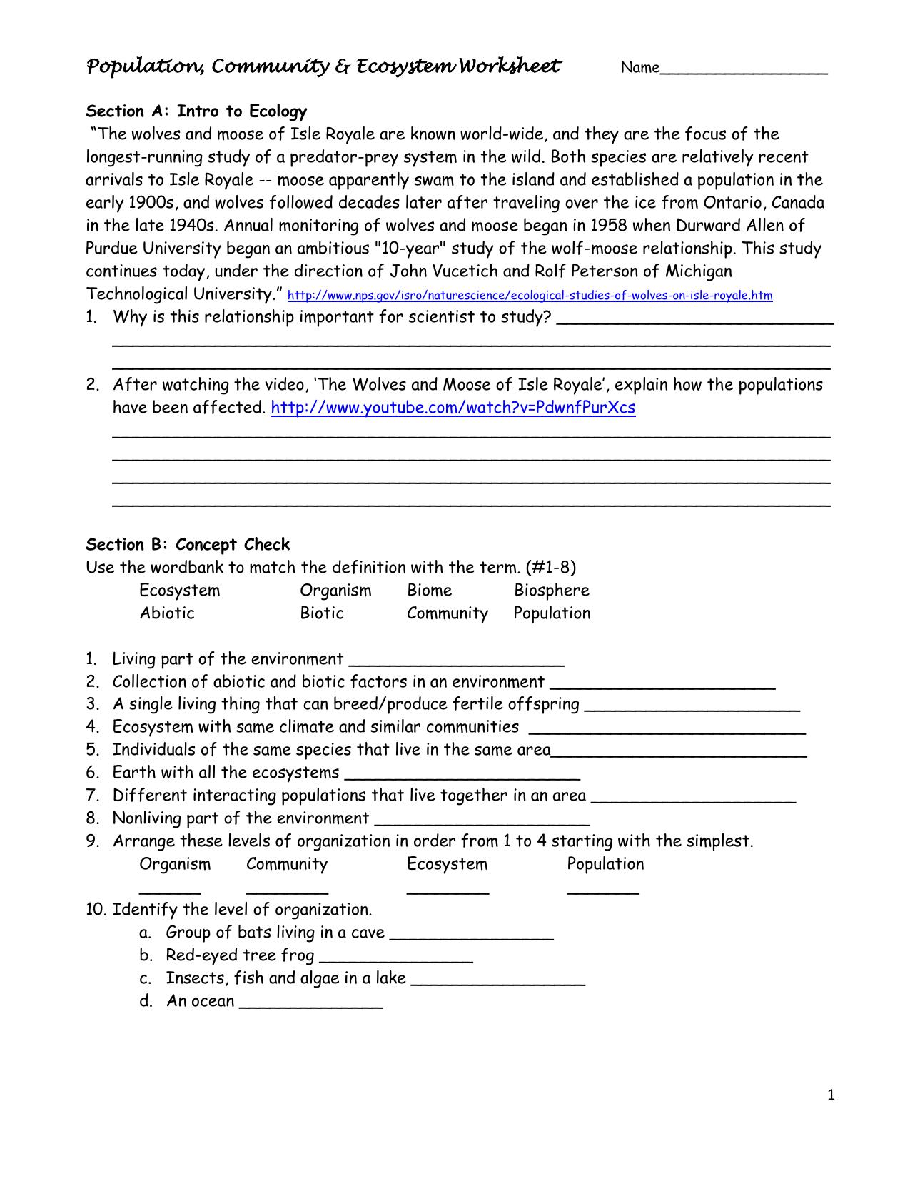 Population Community Amp Ecosystem Worksheet