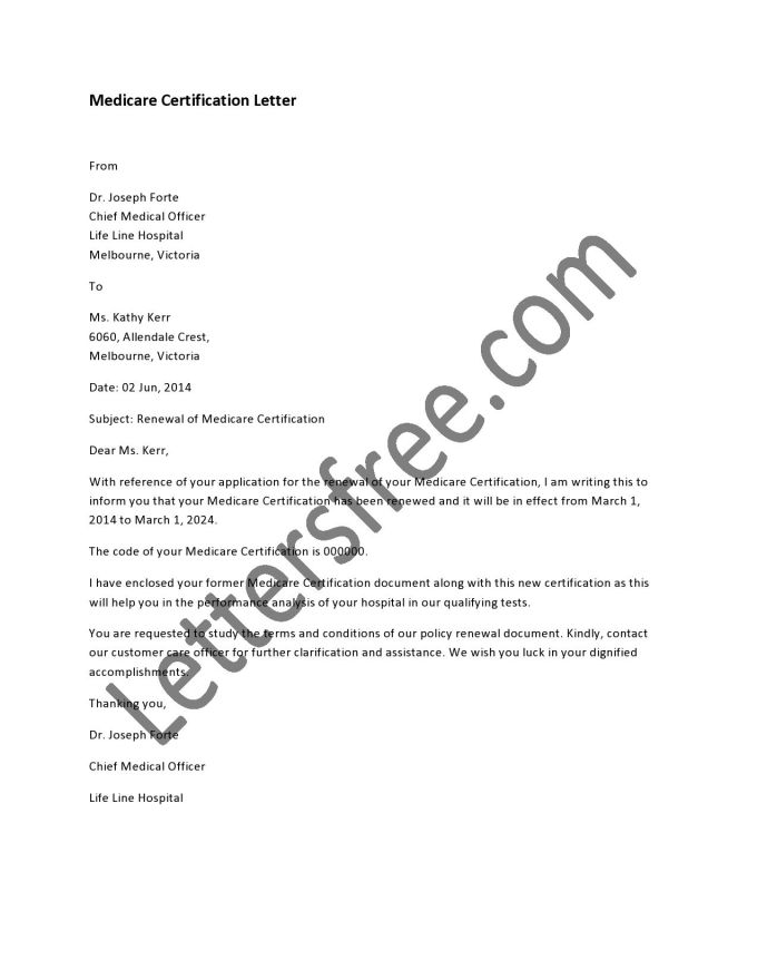 medicare certification letter | Dulahotw.co