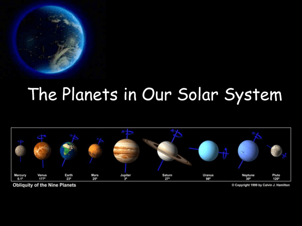 The solar system in order, showing their axial tilt ...