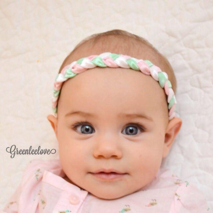 Brandi Pink Mint and White braided headband