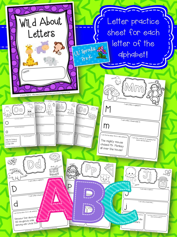 Alphabet Letter Journal A Z No Prep Worksheets Pre K Amp Kindergarten