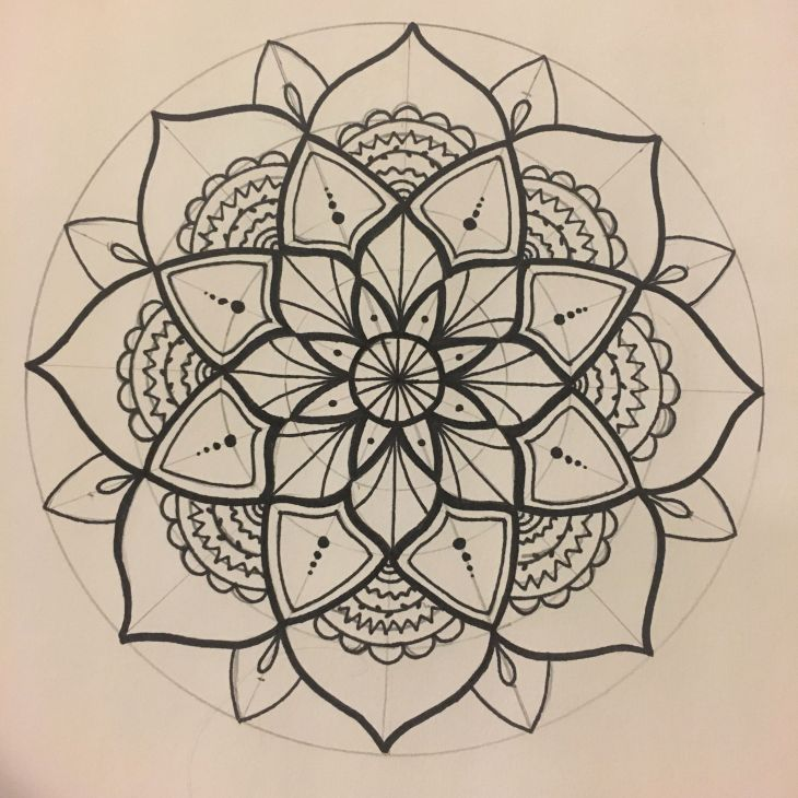 I forgot to erase the pencil lines on this one Mandalas