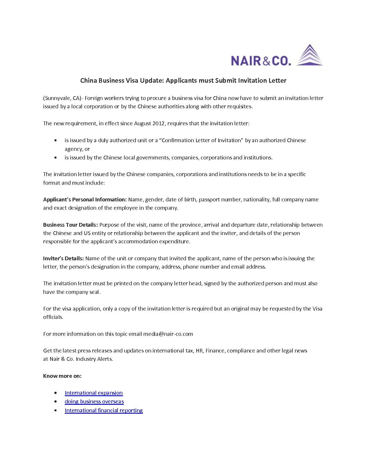 invitation letter for business visa