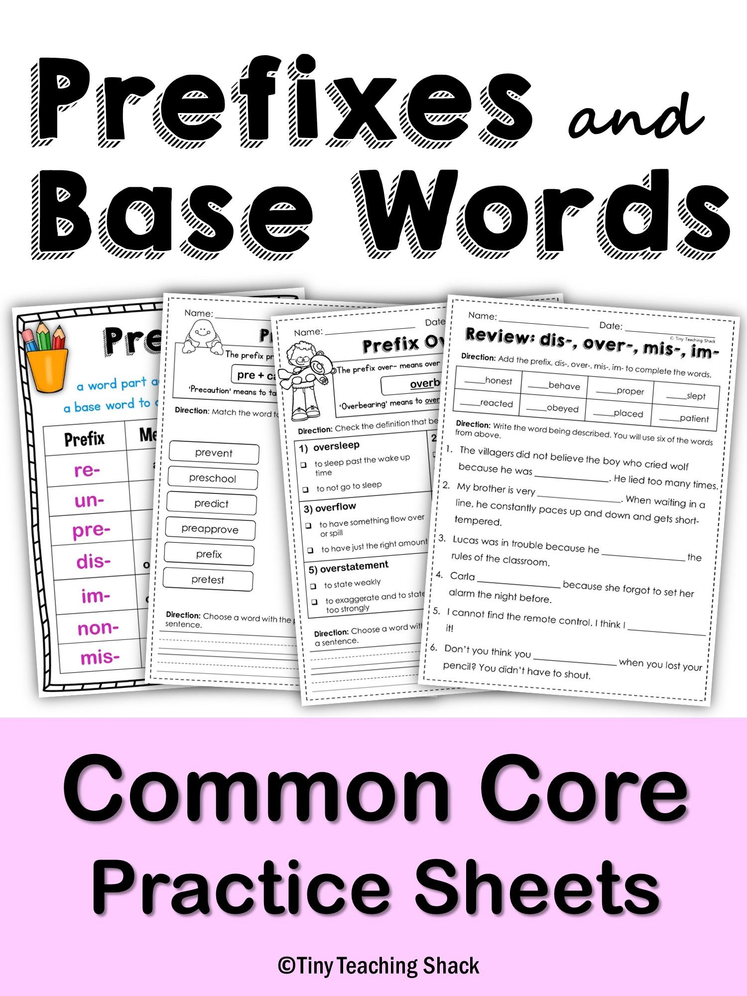 Prefixes And Root Words No Prep Printables