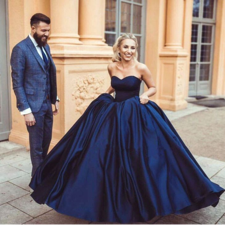 Dark Navy Ball Gown Prom Dresses  Concise   años  Pinterest