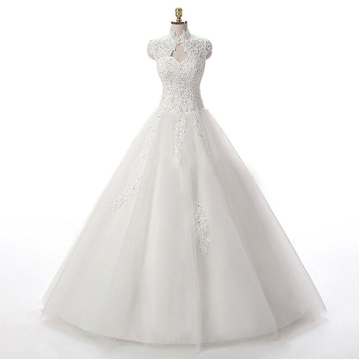 Lampang A Line Lace Wedding Dress Tulle Cap Sleeve Long Wedding Gown